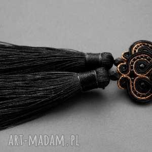 czarno-miedziane klipsy sutasz z onyksami i chwostami, sznurek, eleganckie, wiszące