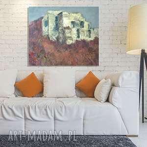 annasko obraz olejny na płótnie, ręcznie malowany płótno olej, ruiny zamku