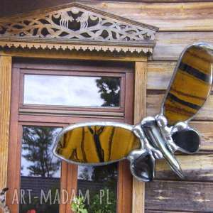 witrazka broszka mały motyl tygrysi, motyl, z kamieni, kamienie naturalne