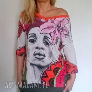 Letni kolorowy sweterek, sweter, damski, oversize, kolorowy, drukowany, klasyczny