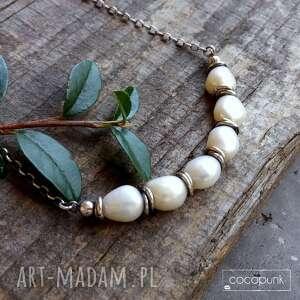 krótki naszyjnik z perłami - srebro 925, choker, perły, srebrny