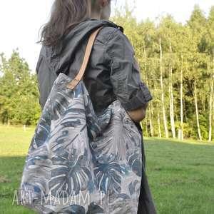 torba tote xxl - monstera, print, floral, tote, torba