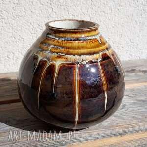 wazon brązowo-miodowy, wazon, glina, ceramika, rękodzieło