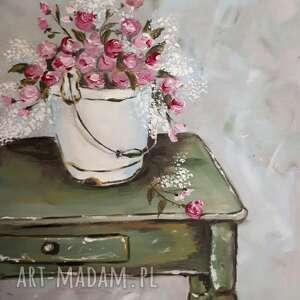 obraz olejny róże kwiaty dom prowansalski 19 x 27 cm, róże, kwiaty