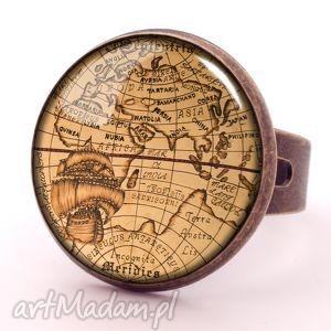 Mapa Świata - Pierścionek regulowany - ,pierścionek,regulowany,mapa,świata,vintage,europa,