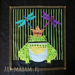 tkaninowy obraz z żabim królem, żaba, żabi król, tkaninowy, obrazek żabą