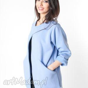 s m narzutka płaszcz oversize błękitny - dresowy, dzianina, wiosna, pastele