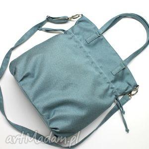 Prezent Shopper Bag SACK - tkanina niebieska, elegancka, nowoczesna, hobo, worek