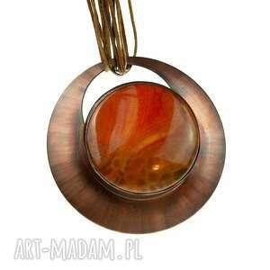 Naszyjnik z miedzi pomaranczowym agatem c600 naszyjniki artseko