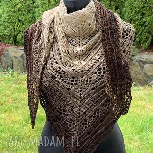 ręcznie wykonana chusta w odcieniach beżu i brązu hand made - od ręki