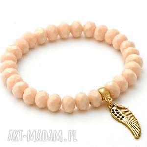 cream crystal with wing pendant - kryształek