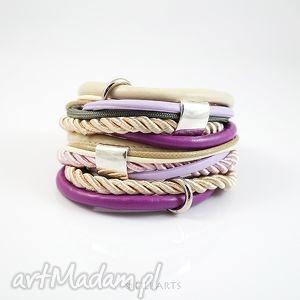 bransoletka - beżowa, lila owijana, sznurki, rzemienie, bransoletka, rzemienie
