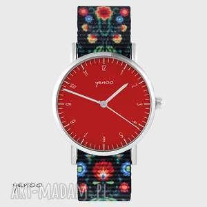 zegarek - simple, czerwony folk czarny, nato, zegarek, bransoletka, klasyczny