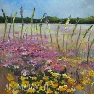 obraz na płótnie - letnia łąka 40/30 cm, łąka, kwiaty, akryl, fiolet, lato