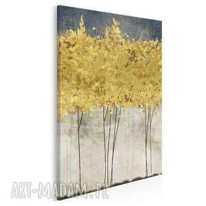 Obraz na płótnie - złote drzewa w pionie 50x70 cm 77103 vaku