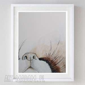 paulina lebida brązowy pyszczek -akwarela formatu 24/32cm, kotek, wąsy, abstrakcja
