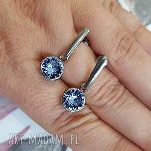beezoo kolczyki crystals light sapphire, kolczyki, sztyfty, swarovski, stal