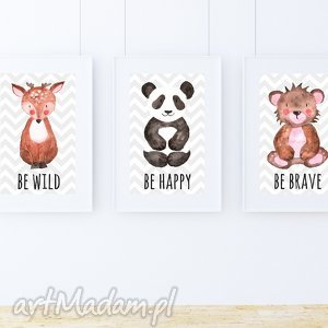 Zestaw 3 plakatów / TO BE A3, miś, panda, zygzak, zwierzaki, las