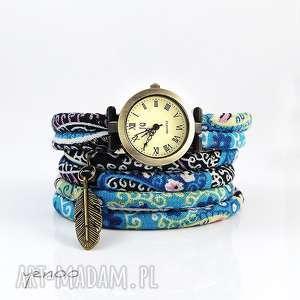 hand made zegarki zegarek, bransoletka - niebieski boho - owijany