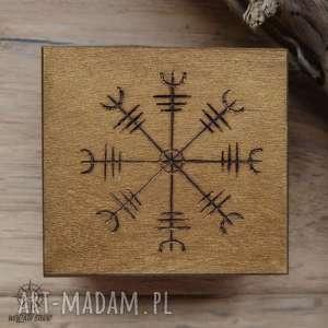 ręcznie malowane drewniane pudełko aegishjalmur - złote - wiking, wikingowie