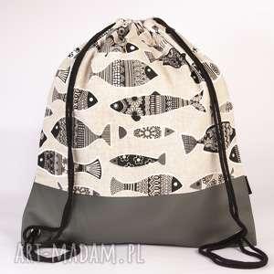 Skórzana rybaII, torba, plecak, worek, ekoskóra, ryba