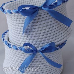 pudełka kosz white, kosz, koszyczek, bawełna, sznurek, szydełko, przechowywanie