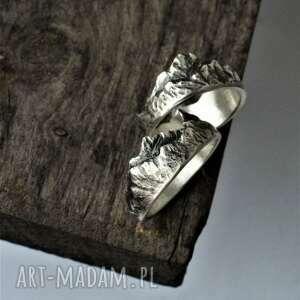 Pierścionek z górami obrączki dziki krolik góry, srebro