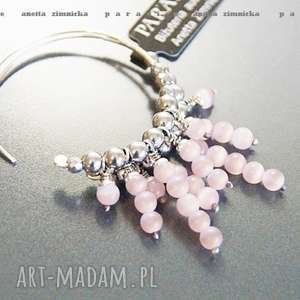 srebro, bransoleta pastelowy róż, kolczyki kółka, hematyty