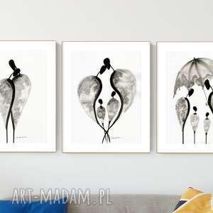 zestaw 3 grafik 30x40 cm wykonanych ręcznie, abstrakcja, elegancki minimalizm, obraz