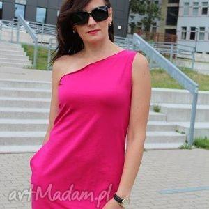 sukienki asymetryczna bawełniana sukienka, asymetryczna, fuksja, róż