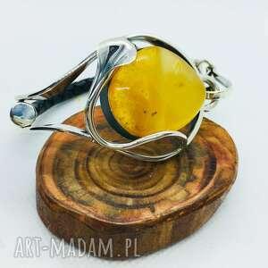 srebrna bransoletka z bursztynem rzemieniem 925
