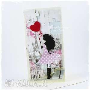 I love Paris, paryż, puzzle, kobieta, sukienka, balon, serce