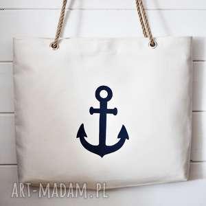 Torba z kotwicą, torba, torebka, damska, plażowa, letnia, bawełniana