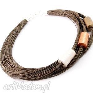 Naszyjnik lniany Gudiv - Len, len, drewno, ręcznie, malowane