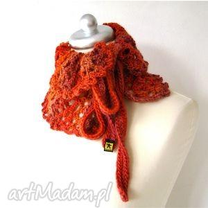 BARSKA: otulacz ażurowy w czerwieniach, wiązany - ocieplacz, szalik ażur, prezent