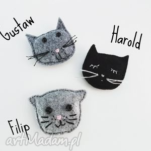kot filip filcowa broszka - filcowa, broszka, kot, cat, kotek, filcowy