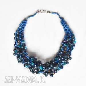 naszyjnik -korale plecione /10/, naszyjnik, korale, przestrzenne, biżuteria
