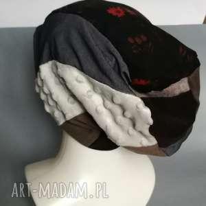 hand made czapki czapka etno boho patchworkowa codzienna damska handmade - na podszewce