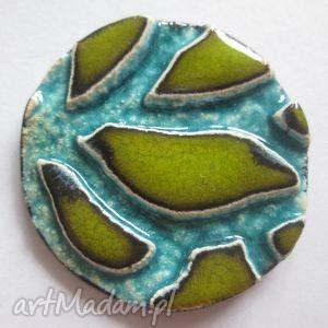 broszka soczysta - ceramiczna, limonkowa, kolorowa, prezent