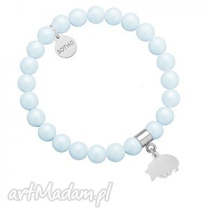 ręczne wykonanie dla dziecka jasnoniebieska bransoletka pereł swarovski® crystal ze srebrnym jeżem