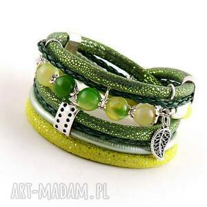 bransoletka z zielonymi agatami, owijana, kamieniami, damska