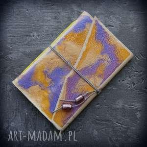 handmade notesy notes a6 ze skórzaną miękką okładką letnie niebo - ręcznie robiony
