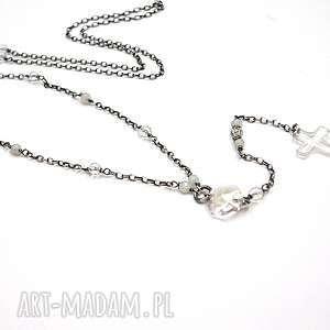 Crystal cross -naszyjnik, srebro, oksydowane, krzyż, swarovski, kryształgórski