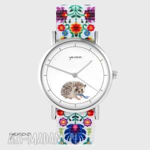 ręcznie wykonane zegarki zegarek - jeżyk folk biały, nato
