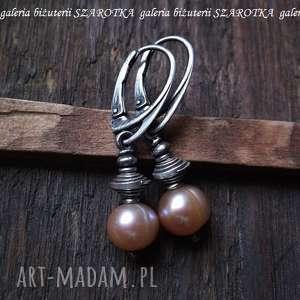 CIELISTE kolczyki z naturalnych pereł i srebra, perła, naturalna, słodkowodna