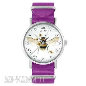 zegarek - bee natural amarant, nylonowy, zegarek, bransoletka, pszczoła