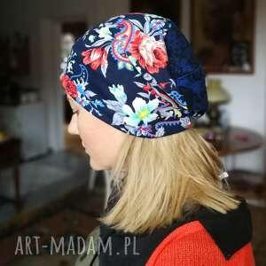 czapki czapka w kwiaty dzianinowa etno boho codzienna - box m1- na podszewce