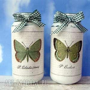 dekoracja motyle komplet ręcznie malowanych słoiczków słoik
