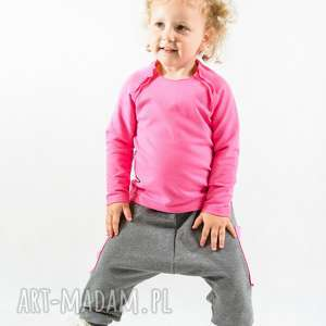 bluzeczka na długi rękaw - różowa, bawełna, bluzka, przeszycia, surowe, metka