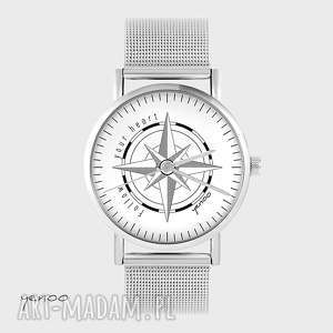 zegarek, bransoletka - kompas, follow your heart metalowy, zegarek